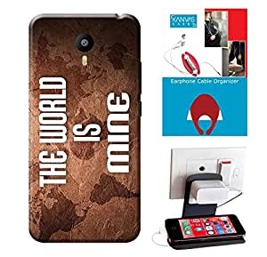 Meizu m3 Note Accessories Combo, Premium Quality Designer Printed 3D Lightweight Slim Matte Finish Hard Case Back Cover for Meizu m3 Note + Free Earphone Cable Organizer + Mobile Charging Holder/Stand