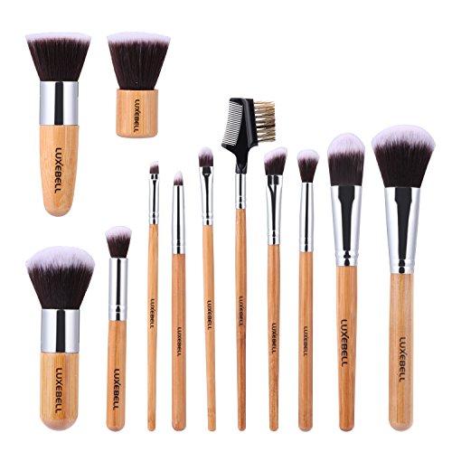 Luxebell® 12 Pezzi Professional bambù Maniglia Premium Synthetic Kabuki Fondazione fusione Blush Correttore occhio volto Liquid panna in polvere cosmetici compone le spazzole corredo con il sacchetto