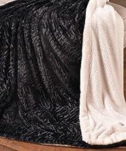 Black Sherpa Backed Faux Fur Throw