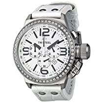 TW Steel Canteen Chronograph White Dial White Leather Unisex Watch TW10R
