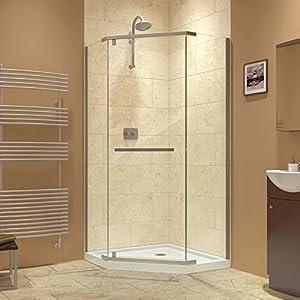 """DreamLine Prism 36 1/8"""" by 36 1/8"""" Frameless Pivot Shower Enclosure, Brushed Nickel Finish, SHEN-2136360-04"""