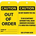 "NMC RPT145 ""CAUTION - OUT OF ORDER Accident Prevention Tag, Unrippable Vinyl, 3"" Length, 6"" Height, Black on Yellow (Pack of 25)"