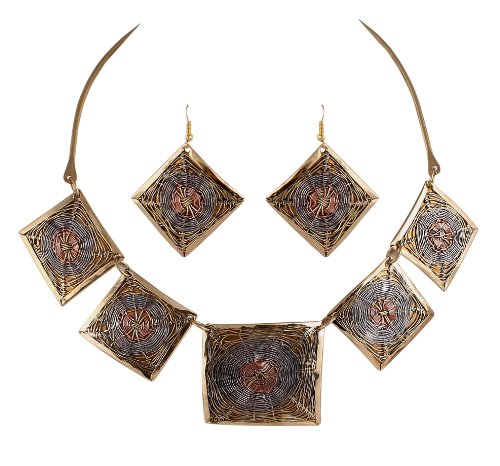 Sharnam Art Tribal / Ethnic master piece Necklace Set in Golden Plated