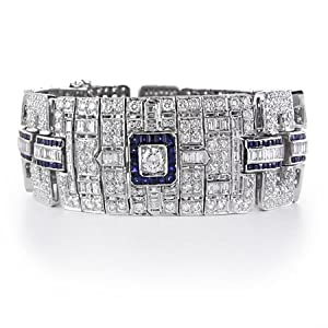 Diamond and Blue Sapphire 18k White Gold Antique Style Bracelet