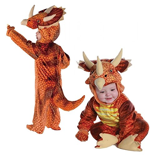 [Dinosaur Costume Baby & Toddler Kids Triceratops Halloween Fancy Dress (L (Large), Rust)] (Cute Angel And Devil Costumes)