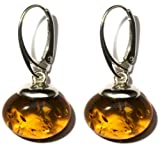 Sterling Silver Cognac Amber Drop Earrings