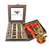 Chocholik Belgium Gifts - Assorted Chocolates With Beautiful Wooden Box With Ganesha Idol - Diwali Gifts
