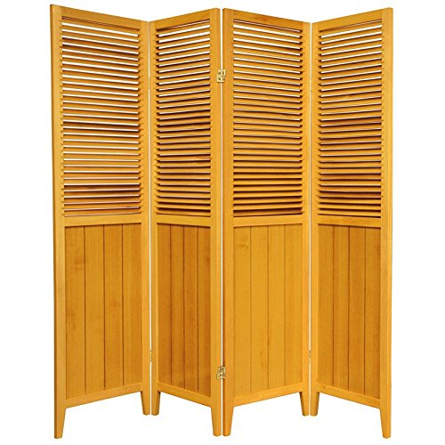 Oriental Furniture 6 ft. Tall Beadboard Divider - Honey - 4 Panels (Louvered Folding Screen compare prices)