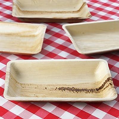 """100 Pcs Natural 6.4"""" x 10"""" Rectangle Eco-Friendly Palm Leaf Disposable Plates"""