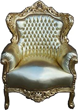 Baroque Armchair 'King' Gold / Gold Leather Look