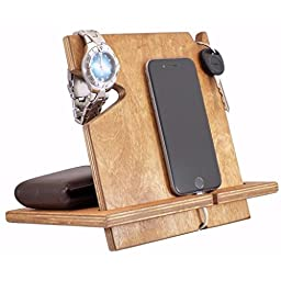Wooden iPhone Docking Station, Graduation Gifts For Him, iPhone 6s plus, 6s, 6 plus, 6, 5, 5s, 4, Samsung Galaxy, Android (Early American-non personalized)