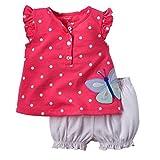 Winer 幼児服セット ドット花プリント半袖 t シャツ + ブルマ パンツ スーツ (90, ピンク) ランキングお取り寄せ