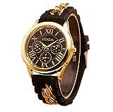 Mujer cuarzo reloj de la jalea dorado silicona reloj para Hombres Unisex negro Navidad feliz cumplea�os regalo - ofertas studyingstore Negro A
