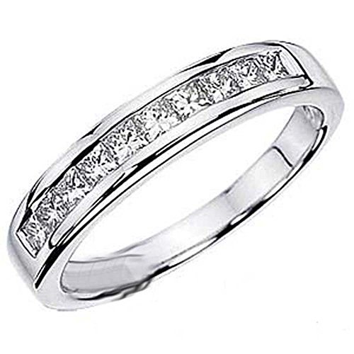 Where Can I Buy 0.75 Carat (ctw) 14k White Gold Princess Diamond Ladies Anniversary Wedding Stackable Ring Band 3/4 CT (Size 8)