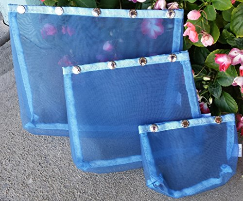 Namaste Oh Snap Set 3 Light Blue Mesh Sewing Knitting Bags from Namaste Inc.