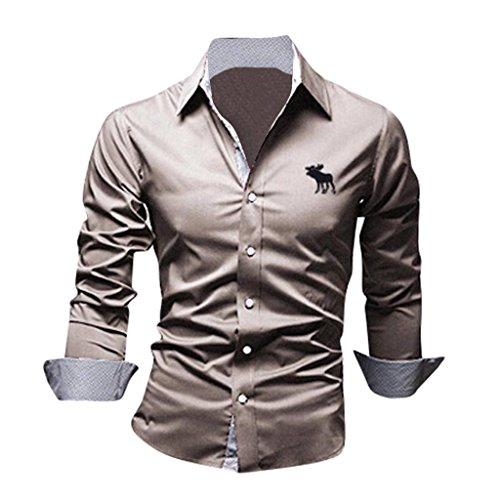 Jeansian Uomo Camicie Maniche Lunghe Moda Men Shirts Slim Fit Casual Long Sleves Fashion 8558 Beige S