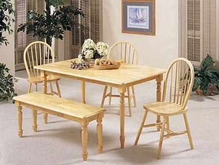 New Farmhouse Design Natural Solid Wood Table Set ACS 20247n 20613n 20864n