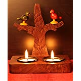 Craftbell Hand Carved Wooden T Light Cum Wall Holder With Cute Parrots For Home Decor , Table Lights , Light & T Lights