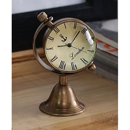 Antique Retro Vintage-Inspired Brass Metal Craft World Globe Table Clock Home Decor - 1.8 Inch