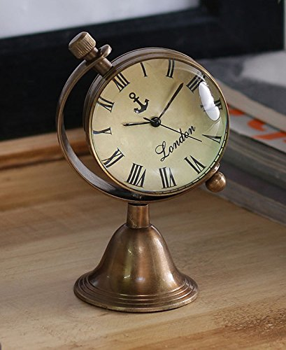Antique Retro Vintage-Inspired Brass Metal Craft World Globe Table Clock Home Decor - 1.8 Inch 0
