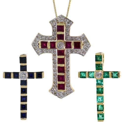 18k Gold Necklace Set (18 in. Thin Box Chain w/ 3 Cross Pendants), w/ 3.00 Total Carat Brilliant Cut Diamonds, Princess Cut Ruby, Emerald & Blue Sapphire Stones