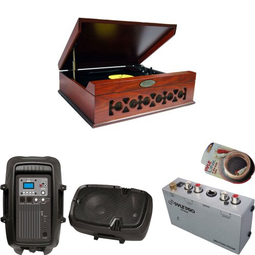 Pyle Turntable Record Player, Pre-Amplifier, Rca Cable And Speaker Package - Pvntt6Umr Vintage Style Phonograph/Turntable With Usb-To-Pc Connection - Pp444 Ultra Compact Phono Turntable Pre-Amplifier - Pphp803Mu 8'' 600 Watt Powered Two-Way Pa Speaker Wit