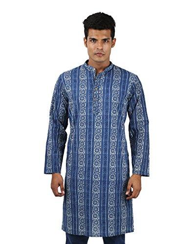 [Men Costume Indian Kurta Cotton Mens Kurtas Blue Floral Printed Shirt] (Ethnic Costume For Men)