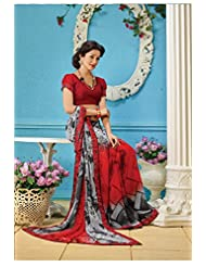 AG Lifestyle Red & Gray Faux Georgette Saree With Unstitched Blouse AKS2036