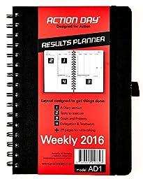 Action Day Planner 2016, Jan-Dec Calendar - Daily Weekly Yearly Organizer & Goal Journal (6x8 / Black / Spiral)