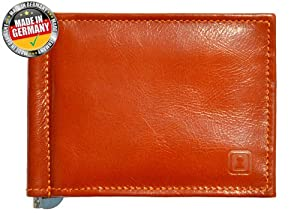 OPTEXX® RFID Blocking Wallet / Money Clip William Cognac Nappa with OPTEXX® Protection; Made in Germany