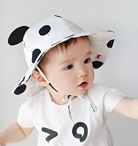LOTUS LIFE ベビー ハット 帽子 uvカット あご紐 コットン 赤ちゃん 男の子 女の子 両用 ドット うさぎ (黒)