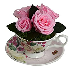 Luxe Bloom Home Collection | Rose Porcelain Tea Cup with Five Ballet Pink Preserved Roses | Lasts 60 days | Perfect home decor accent or gift for Summer, Wedding Showers, Bridesmaids or any occasion