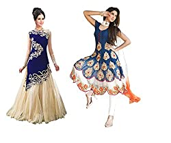 Fashion Dream Women's Embroidery Semistitched Party Wear Salwar Suit Dress Material (Combo pack of 2)