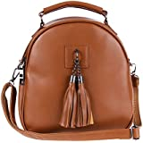 Rrimin Unisex Mini Lightweight PU Leather Backpack Casual Students School Bag (Brown)