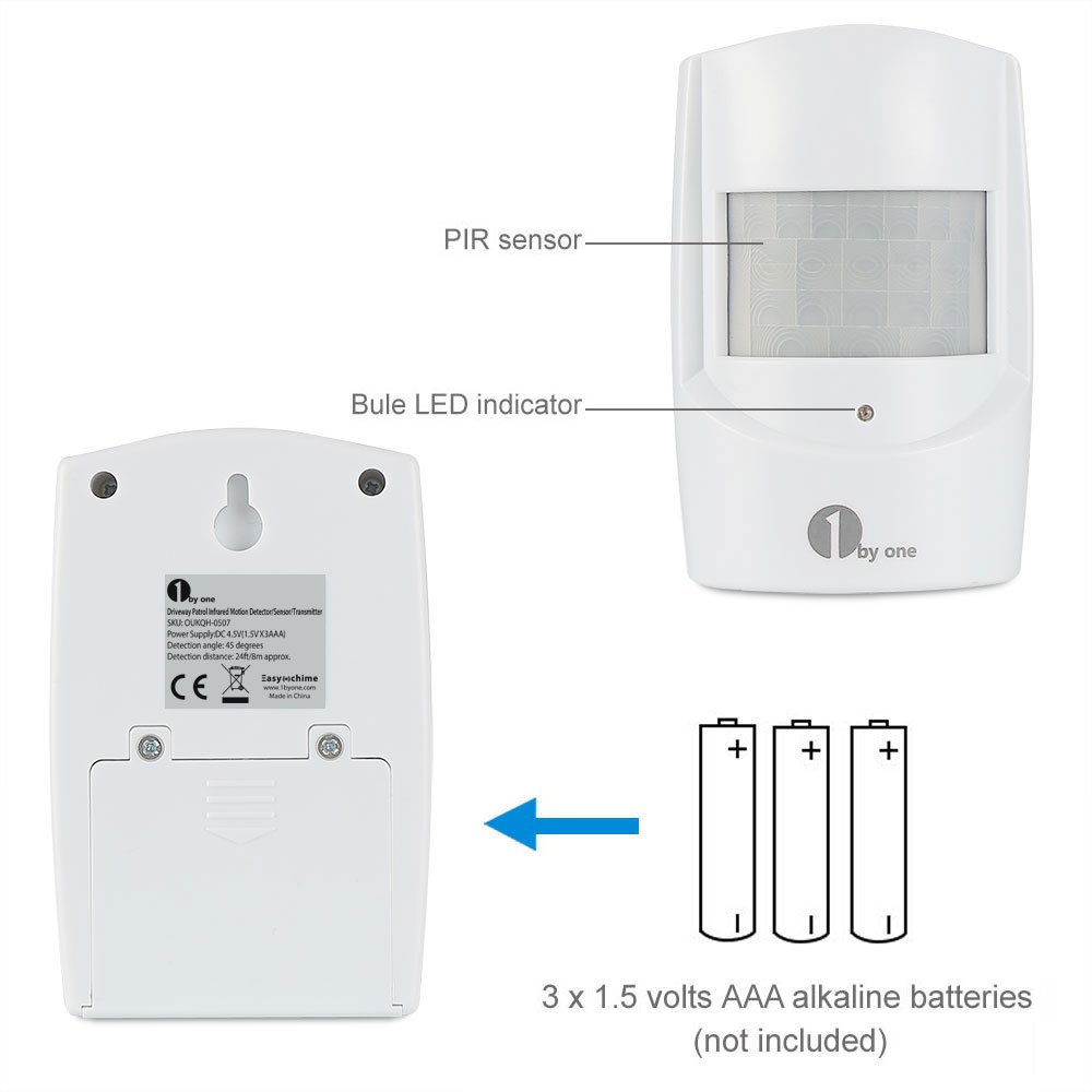 1byone Wireless Home Security Driveway Alarm, 1 Plug-in Receiver and 1 PIR Motion Sensor Detector Weatherproof Alert System Kit, 36 Melodies to choose