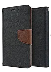 SCHOFIC Premium Fancy Wallet Diary Faux Leather Flip Case Cover with Card Slots [POCKETS] , Stand View and Magnetic Strap [LOCKING] for Micromax Canvas Spark Q380 -Brown & Black