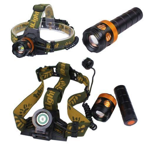 On The Way(Tm) 1800Lm Cree Xm-L T6 U2 Led 3 In 1 Zoom Adjustable Flashlight Headlamp Bike Light 3 Switch Modes Super Bright Cree Led Head Torch With Ac Charger For Hiking, Camping, Riding, Hunting, Fishing Etc Aaa/18650 Rechargeable Battery (Battery Inclu