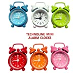 Technoline GENEVA DGW Mini Alarm Clock in Traditional mini bell style. Perfect gift or for travelling (Six colours available, each sold separately) (Sky Blue)