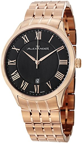 Alexander Statesman Triumph Bracelet Wrist Watch For Men - Black Dial Date Analog Swiss Watch - Stainless Steel Plated Rose Gold Watch - Mens Designer Watch A103B-04 (99 Dollar compare prices)