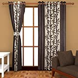 Edecor Polyresin Brown Floral Door Curtain Set- 9 Ft -Brown