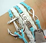 Vintage Silver Infinity Bracelet Love Nautical Anchor Skyblue Rope White Leather