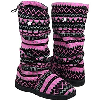 For Bare Feet Ladies NCAA Wisconsin Badgers Jacquard Knit Boots by For Bare Feet
