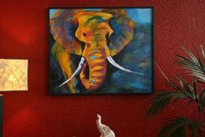 elefant malerei gem lde bild acryl leinwand neu 92x112. Black Bedroom Furniture Sets. Home Design Ideas