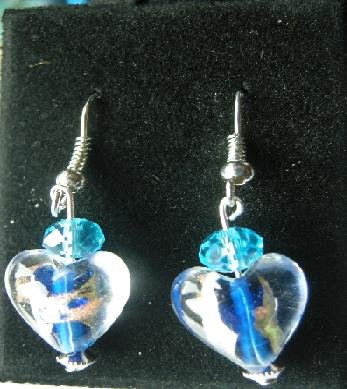 Hand Made Earrings with Heart Glass Silver & Gold foil and Glass Crystal