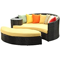 Big Sale LexMod Taiji Outdoor Wicker Patio Daybed with Ottoman in Brown with Orange Cushions