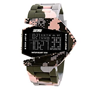 Unique Military Stealth Fighter Sport Digital LED Watch for Men and Women(Pink)