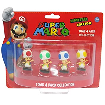 Super Mario 6cm Toad Minifiguren 4er Set [import allemand]