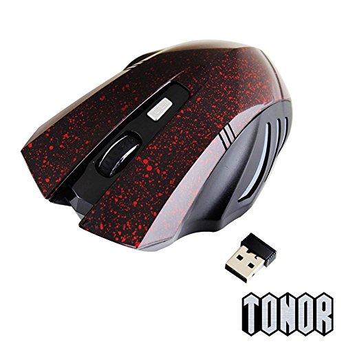 TONOR (TM) Funkmaus Punkt-Muster kabellos schnurlos 6 Tasten LED Gaming Maus für PC Laptop Rot