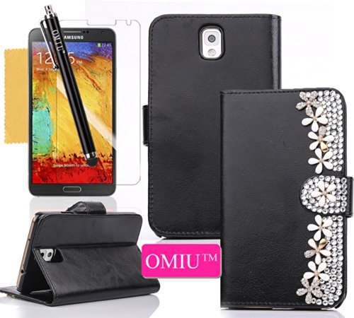Galaxy Note 3 Case,Omiu(Tm)Deluxe Smooth Pu Leather Stand Wallet Design With Delicate Bling Daisy And Credit Card Holder Cover Protector For Galaxy N3 N9000(Black),Sent Screen Protector+Stylus+Cleaning Cloth