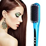 Hair Brush Straightener, [New Arrival]Euph Professional Anion Ceramic Instant Detangling Brush, Built-in Double Anion Launching Rapid Heating Technology Anti Scald Nano Brush (Blue)